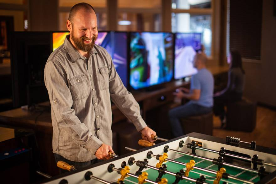 Foosball at the Holiday Inn West Yellowstone game room
