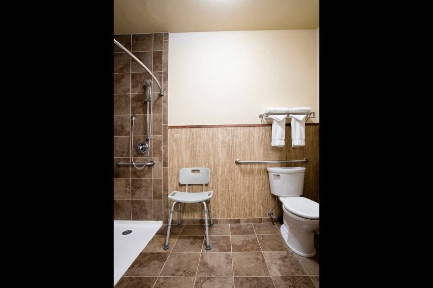 ADA Bathroom with roll-in shower at Holiday Inn West Yellowstone
