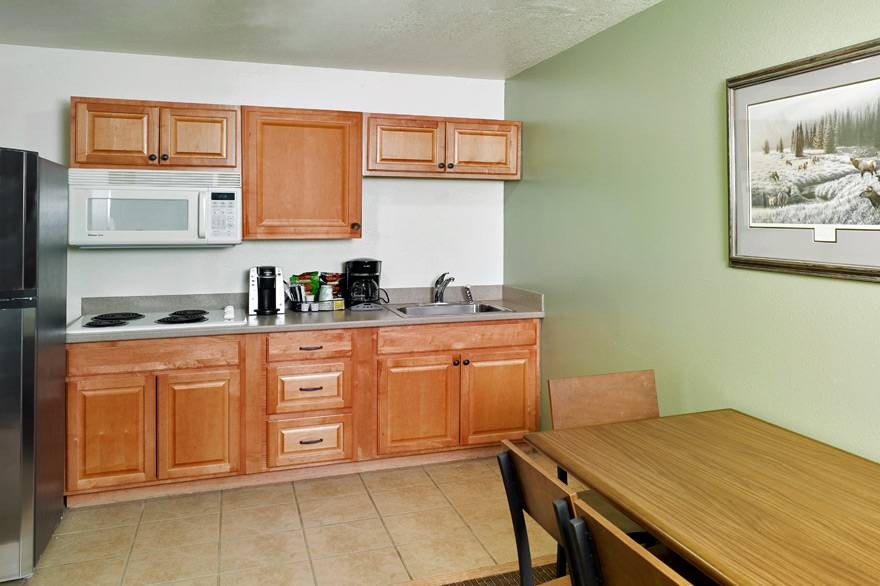 Kitchenette Suite kitchen at The Ridgeline Hotel at Yellowstone