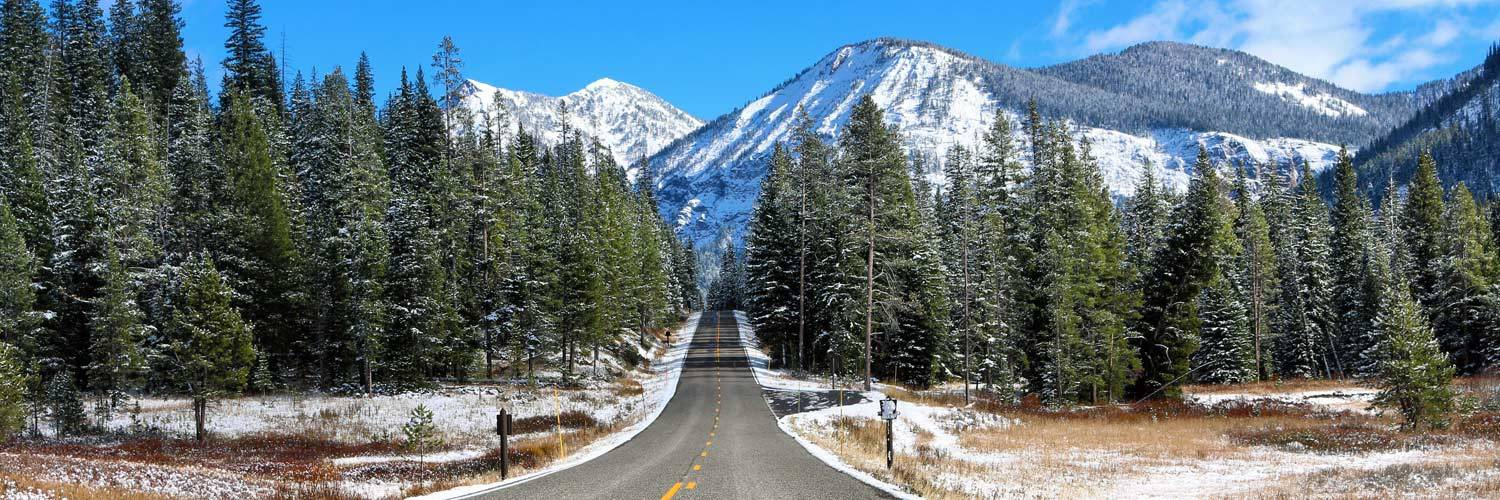 A winter roadway in Yellowstone National Park