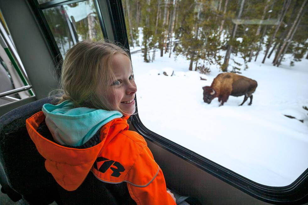 Yellowstone Vacations snowcoach tours are a blast for kids!