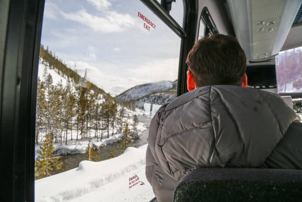 The view out of a snowcoach window with Yellowstone Vacation Tours