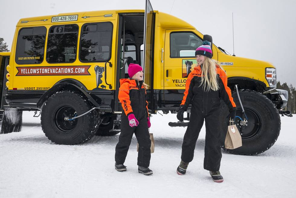 Kids of all ages love Yellowstone snow coach tours