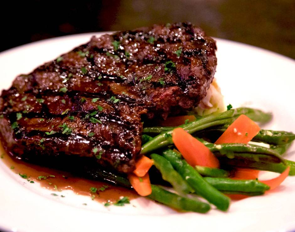 A delicious steak and vegetables at West Yellowstone's Branch Restaurant and Bar